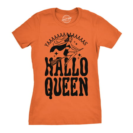 Womens HalloQueen Shirt Funny Halloween Queen Tee for Ladies Cute Costume T shirt](Halloween Shirts For Women)