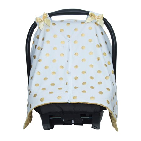 Wondrous White Gold Dot Minky Baby Car Seat Canopy Cover Forskolin Free Trial Chair Design Images Forskolin Free Trialorg