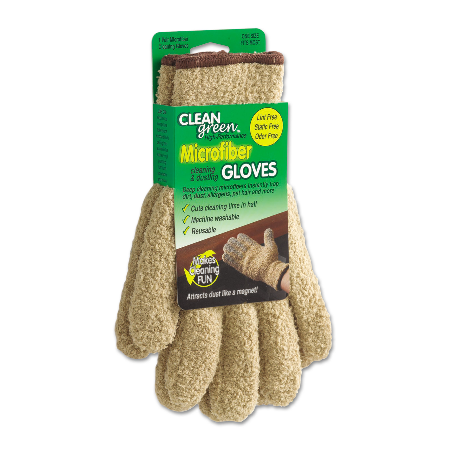 Master Caster CleanGreen Microfiber Cleaning and Dusting Gloves, Pair
