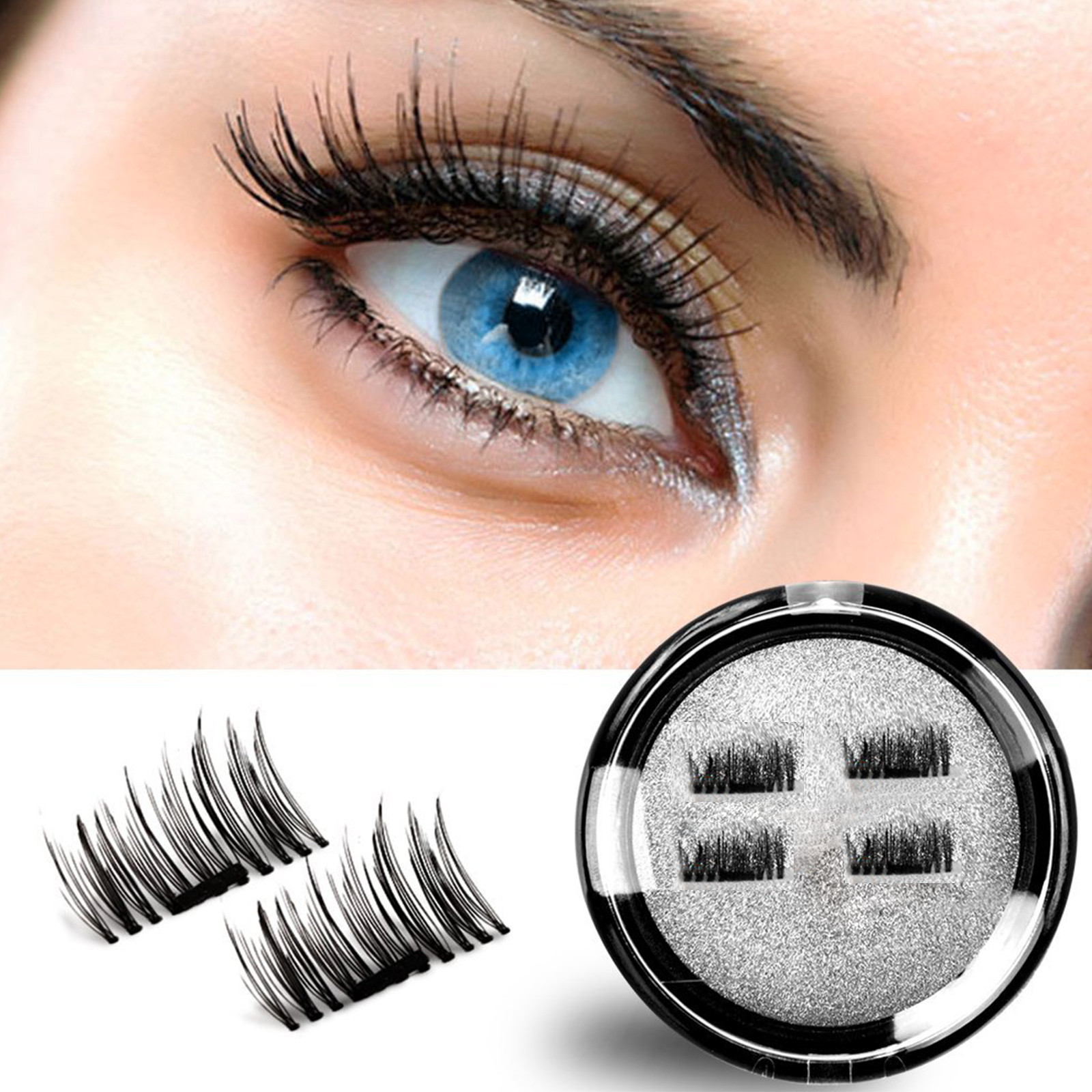 8458cd3a8b3 Magnetic eyelashes, Oak Leaf New Dual Magnetic False Eyelashes - 1 Pairs (4  Pieces) Ultra Thin 3D Fiber Reusable Best Fake Lashes Extension for  Natural, ...