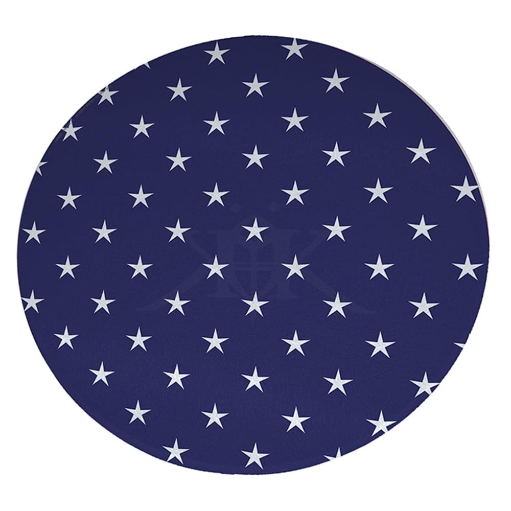 "KuzmarK 12"" Round Glass Cutting Board - Stars No Stripes"