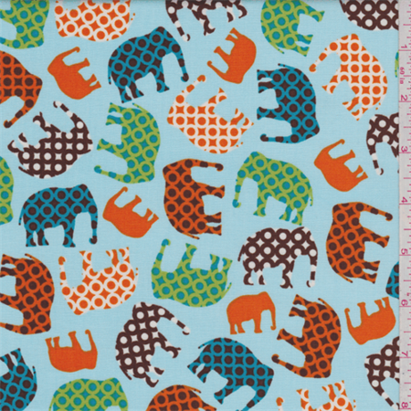 Baby blue multi elephant cotton fabric sold by the yard for Fabric sold by the yard