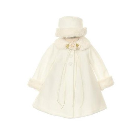 Ivory Fleece Faux Fur Collar Stylish Coat Baby Girl 24M - Faux Fur Coat Girls