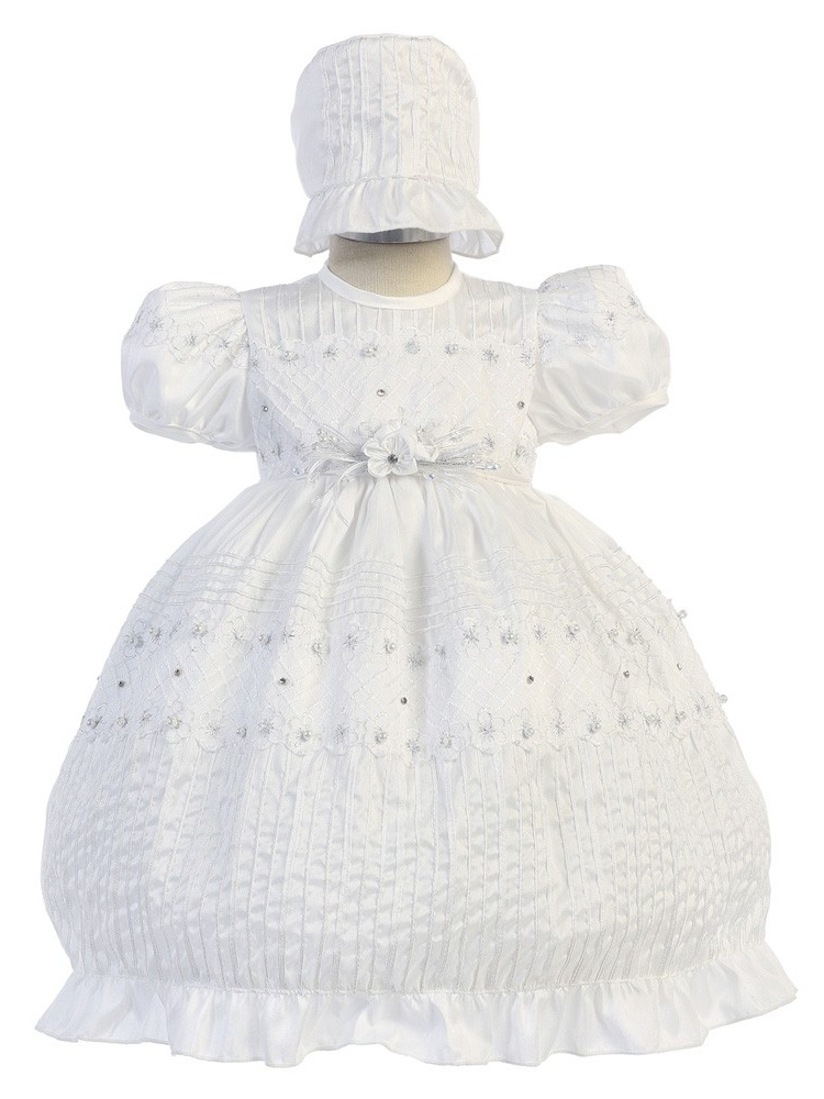 Angels Garment Girls White Puff Sleeve Embroidered Bonnet Baptism Dress 6M-3