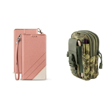 BC Synthetic PU Leather Magnetic Flip Cover Wallet Case (Rose Pink) with ACU Camo Tactical EDC MOLLE Waist Pouch and Atom Cloth for Samsung Galaxy J3 2018 (J337)