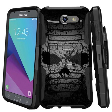 Samsung Galaxy J3 Emerge Case   J3 2017 Case   J3 Pro Case   Clip Armor   Dual Layer Case Rugged Exterior With Built In Kickstand   Holster   Faded Skull
