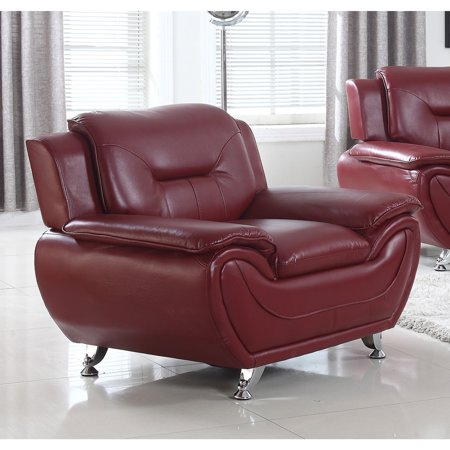 PDAE Deliah Faux Leather Relaxing Accent Chair 2 Seat Burgundy Leather Theater
