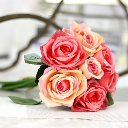 Artificial Rose Bunch Silk Artificial Flowers Real Touch For Wedding