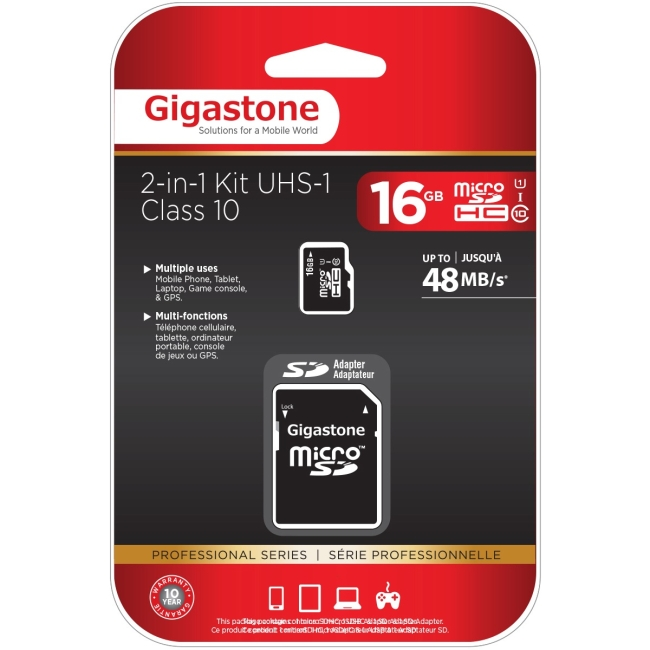 Gigastone GS-2IN1C1016G-R Class 10 UHS-1 microSDHC Card and SD Adapter with up to 48Mbps Transfer Rates, 16GB