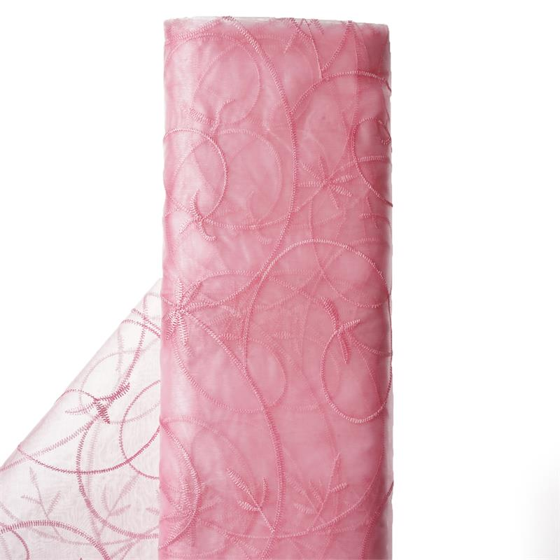 "54"" x 10 yards Embroidered Organza Fabric Bridal Bolt - Pink"