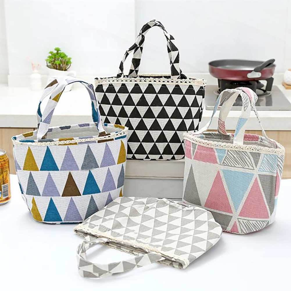Moderna Triangle Print Picnic Thermal Insulated Lunch Box Tote Drawstring Cooler Bag
