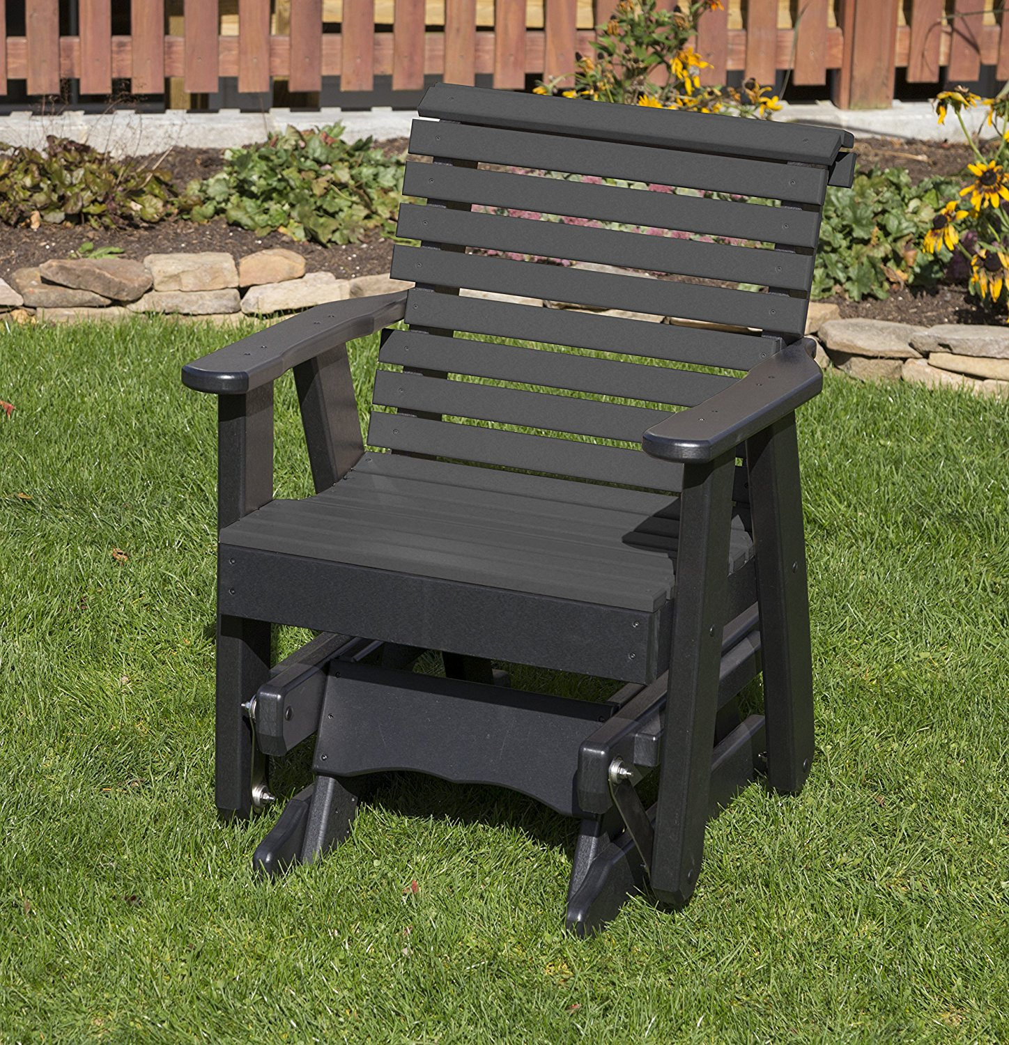 All Weather Furniture Outdoor Patio Garden Lawn Exterior Black Finish Poly Lumber Roll Back 2 Ft Glider Everlasting Amish Crafted