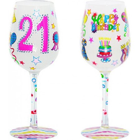 95 & Sunny 21 Its My Birthday- Bottoms Up Wine Glass by