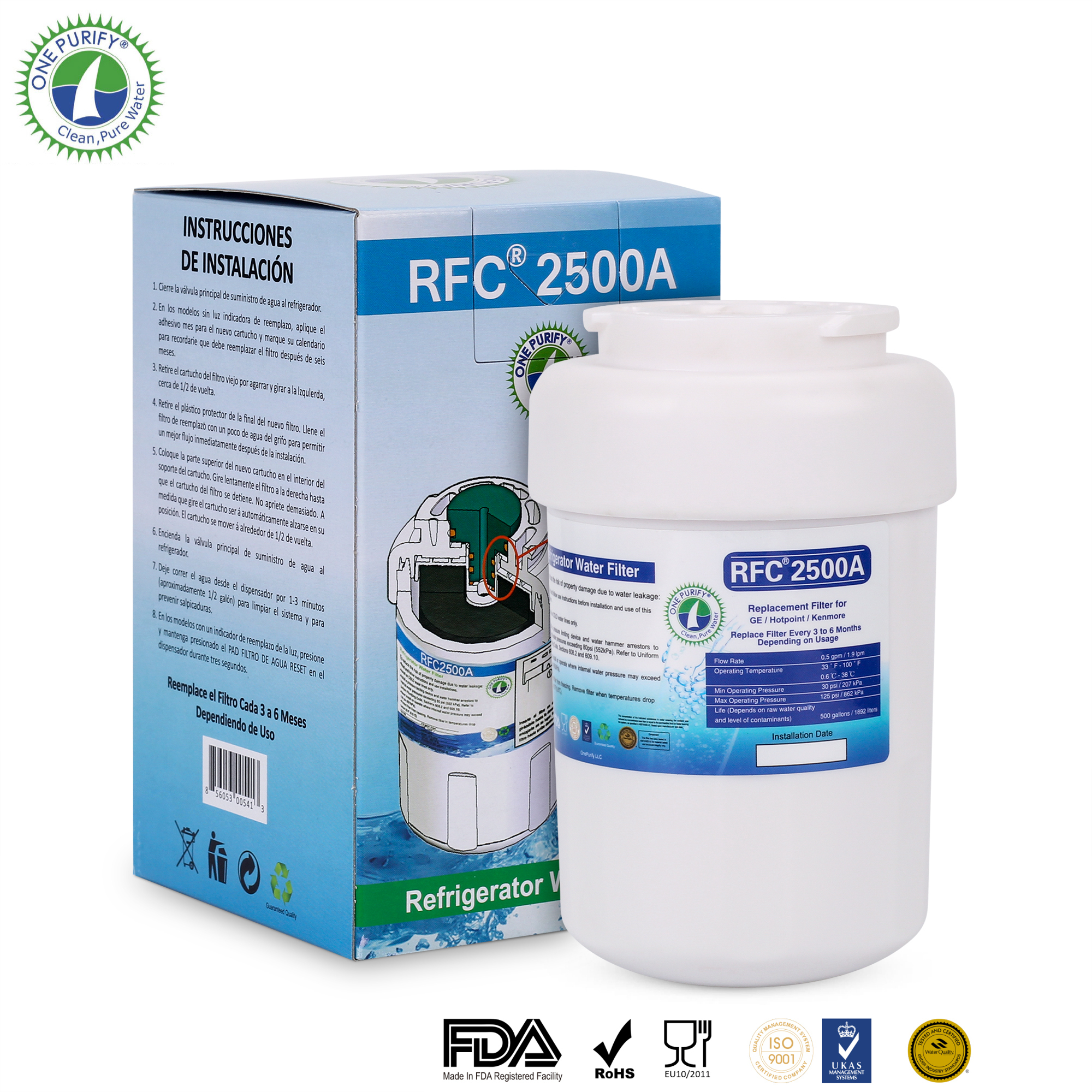 OnePurify RFC2500A Replacement for MWF, MWFA, MWFP, GWF, GWFA, 9991,46-9991, 469991 Refrigerator Water Filter