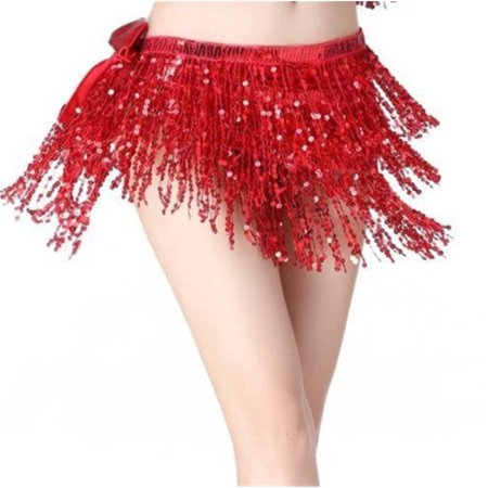 - Fashion Women Sequin Shiny Clubwear Party Mini Skirts Dance Bling Fringe Dress Tassel Wrap Skirts Red