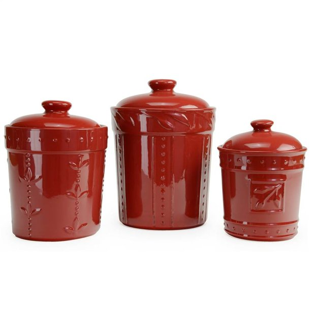 Sorrento 3 Piece Canisters - Ruby