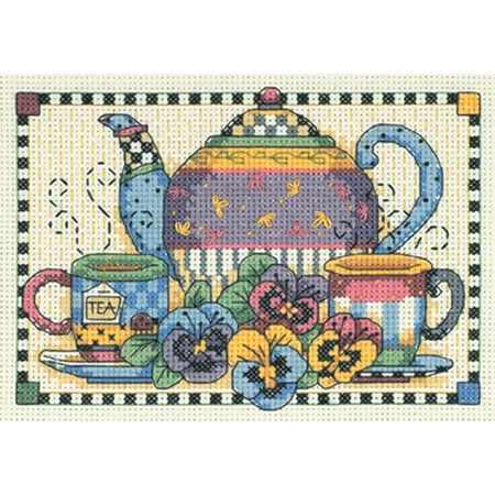 Dimensions Teatime Pansies Mini Counted Cross Stitch Kit, 7