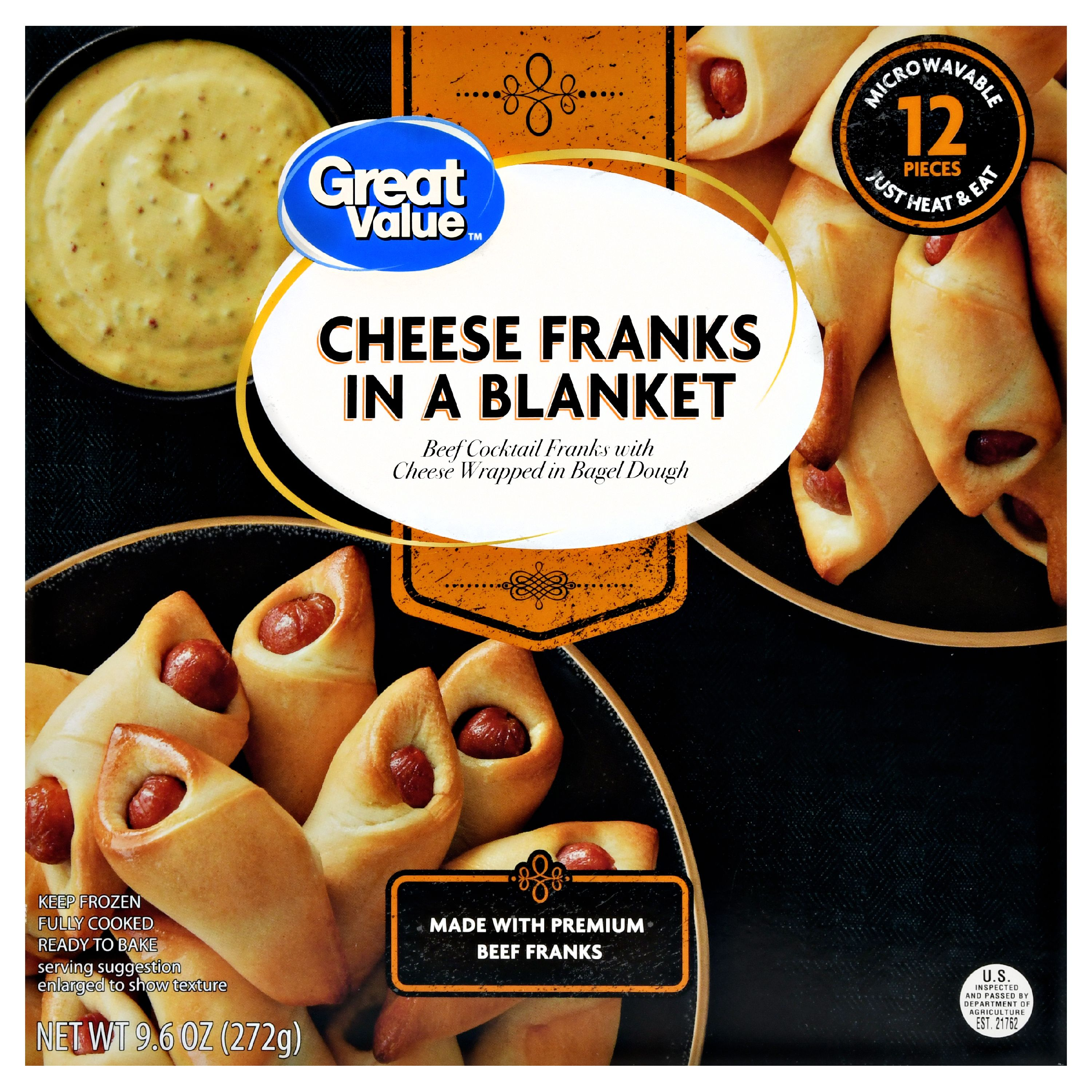 Great Value Frozen Cheese Franks in a Blanket, 12 Count