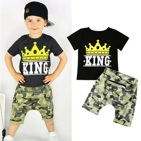 Casual Toddler Kids Boy Summer KING Tops T-shirt Camo Pants Outfits Set (Best Casual Outfits For Men)