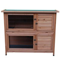EOTVIA 48in 2 Tiers Waterproof Coop Rabbit Hutch Wood House Pet Cage for Small Animals, Pet Supplies, Crates