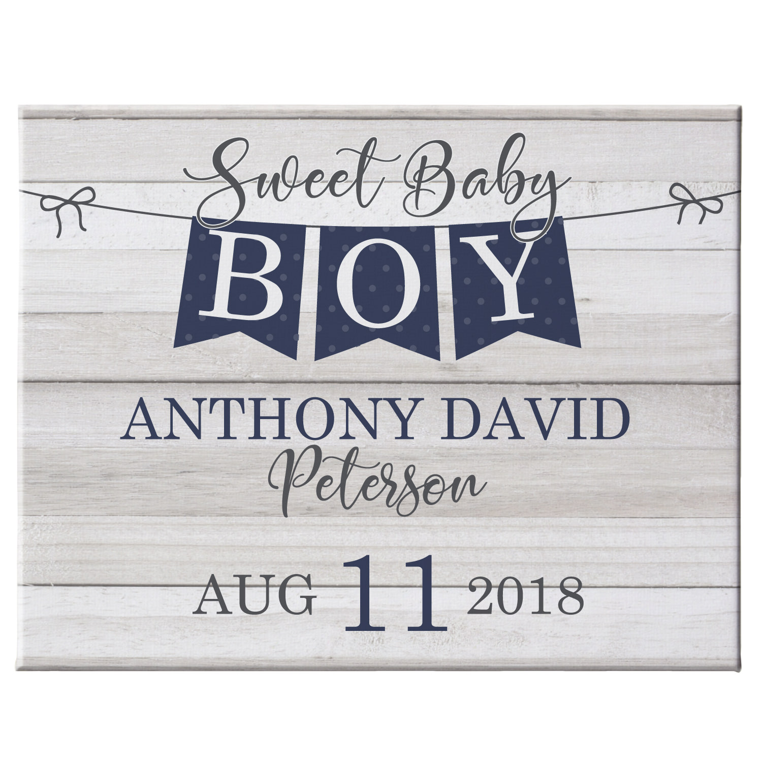 Personalized Sweet Baby Banner Canvas - Navy 11x14