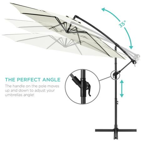 Best Choice Products 10ft Offset Hanging Outdoor Market Patio Umbrella w/ Easy Tilt Adjustment - Cream