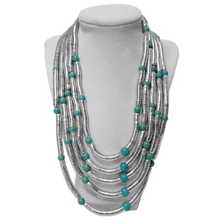 RW Collections Stunning Sade Multi-Strand Bib Necklace (Turquoise, Silver-Tone)