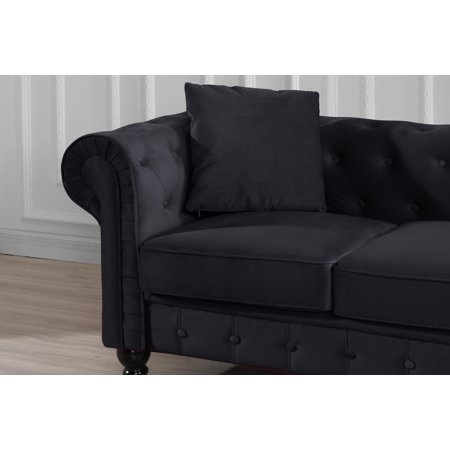 Black Leather Sofa Loveseat (New Classic Modern Scroll Arm Velvet Chesterfield Love Seat Sofa (Black) )