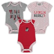 Girls Infant Russell Athletic White/Heathered Gray/Red Georgia Bulldogs 3-Pack Bodysuit Set