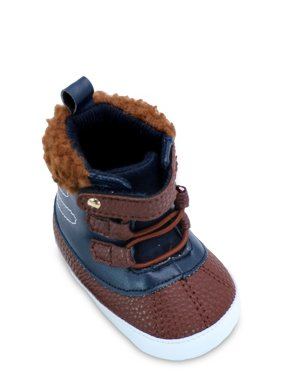 First Steps Baby Boy's Winter Boots with Faux Sherpa