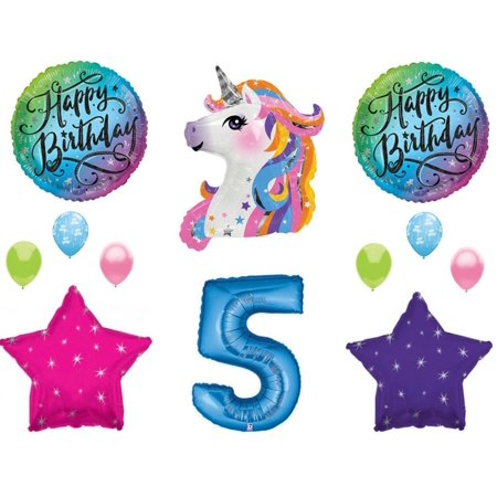 Blue 5th Neon RAINBOW UNICORN Happy Birthday Party Balloons Decoration Girl