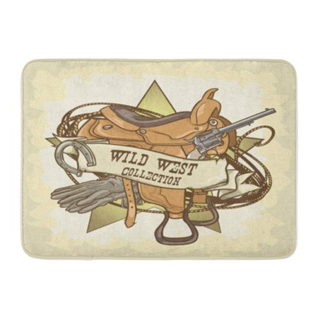 KDAGR Cowboy Wild West Vintage Rodeo Western Ranger Old Sign Doormat Floor Rug Bath Mat 30x18 inch