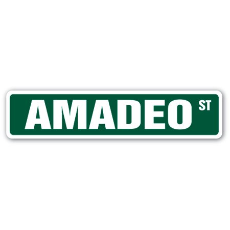 Amadeo Crystal (AMADEO Street Sign Childrens Name Room Sign | Indoor/Outdoor | 18