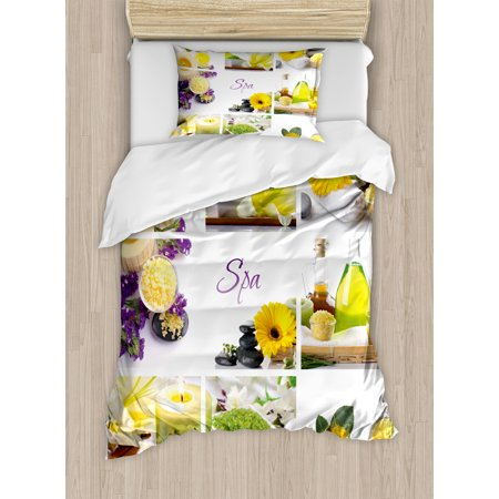 Spa Decor Twin Size Duvet Cover Set  Yellow Happy Peaceful Spa Day With Flowers Candles And Herbal Oils  Decorative 2 Piece Bedding Set With 1 Pillow Sham  Yellow Purple And White  By Ambesonne
