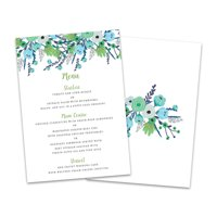 Personalized Blue & Green Floral Wedding Menu Card