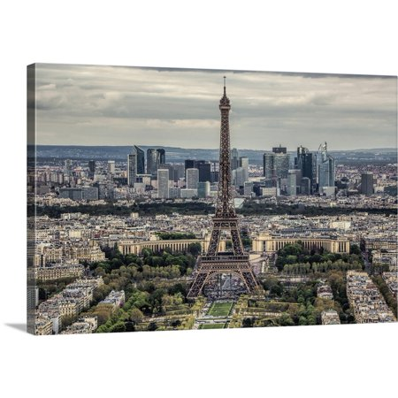 Great BIG Canvas | Scott Stulberg Premium Thick-Wrap Canvas entitled Aerial view of the Eiffel Tower and La Defense in Paris - Halloween Tower Defense 5