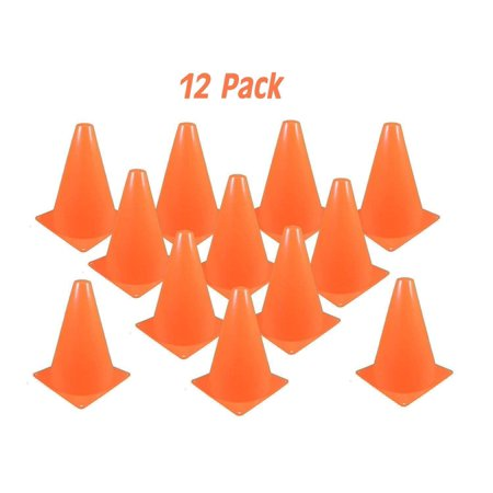 7-Inch Plastic Traffic Cones - 12 Pack Multipurpose Construction Theme Party Sports Activity Cones for Kids Outdoor and Indoor Gaming and Festive Events - Great Themes For Parties
