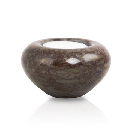 Sharing Urn - Marble Cremation Keepsake For Sharing Ashes - Extra Small 1 Pounds -  Brown Tea Light - Engraving Sold Separately