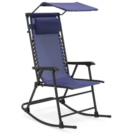 Best Choice Products Outdoor Folding Mesh Zero Gravity Rocking Chair with Attachable Sunshade Canopy and Headrest, Navy