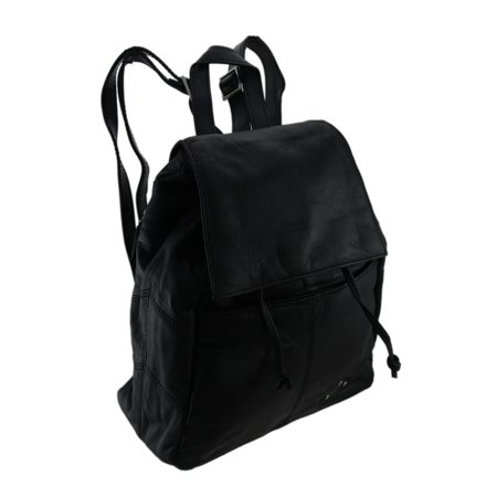 Black Lambskin Leather Drawstring Backpack Purse