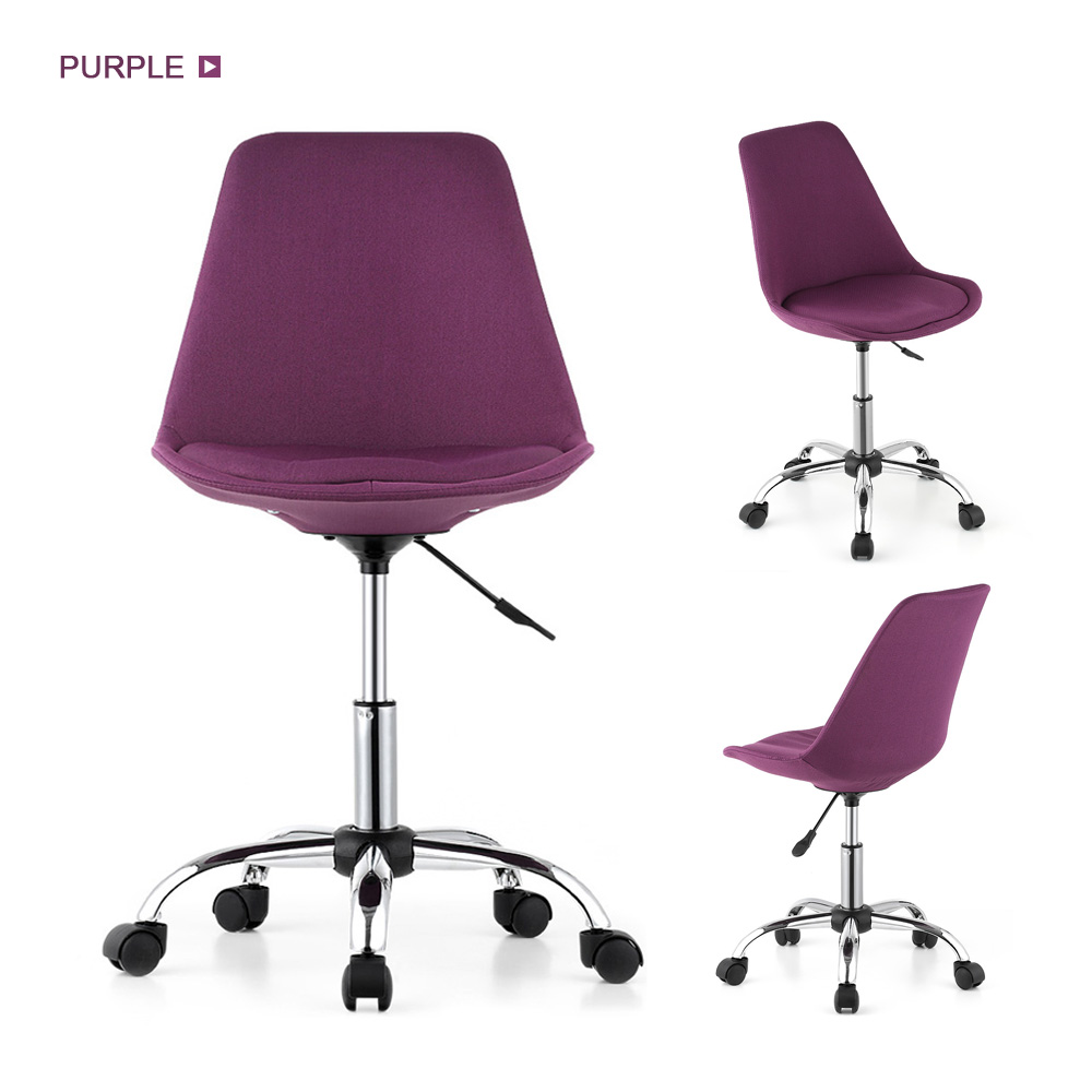 iKayaa Fashion Adjustable Home Office Desk Chair 360°Swivel Pneumatic Study Computer Task Chair Shell Stool Red/Purple