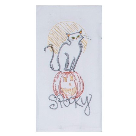 Spooky Kitty on Pumpkin Halloween Embroidered Flour Sack Kitchen Dish (Embroidered Kitty)