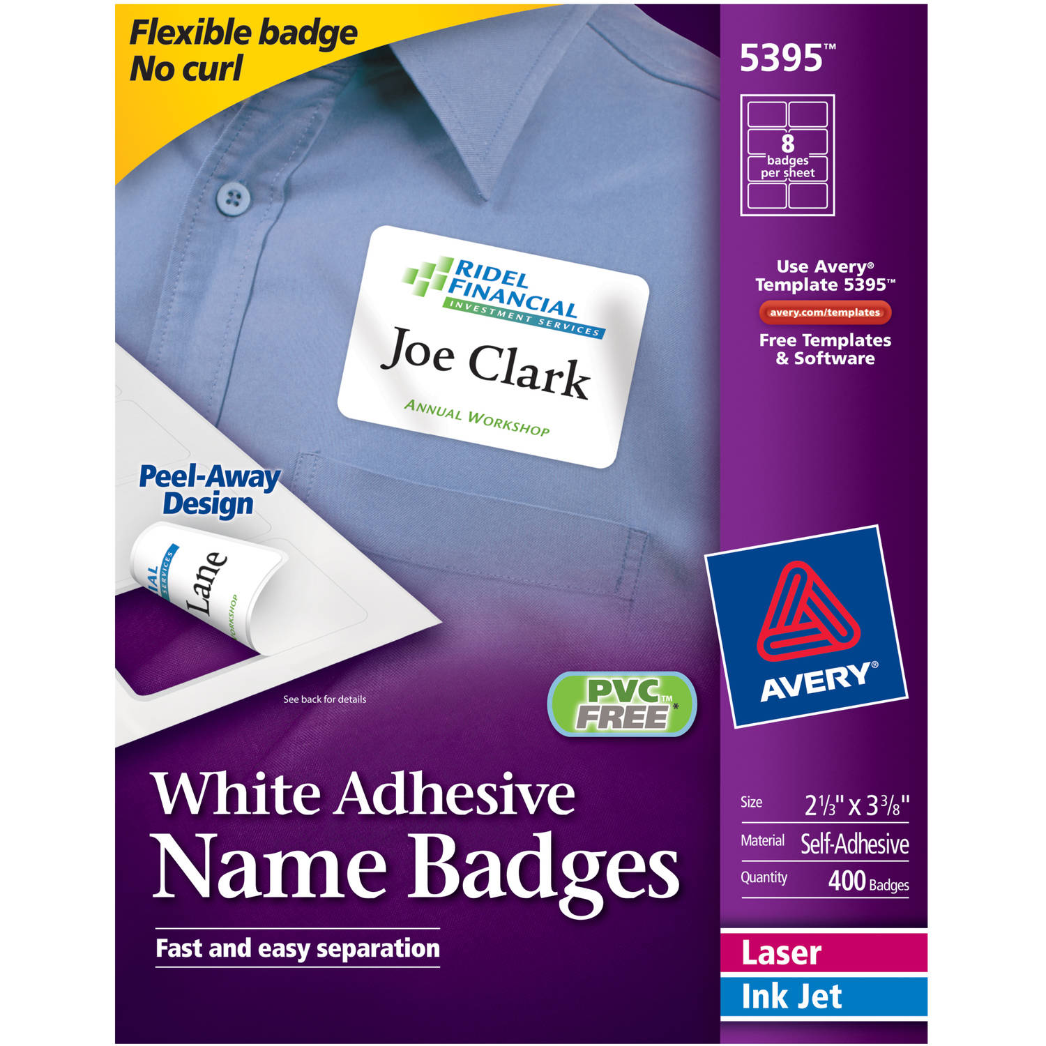 "Avery White Adhesive Name Badges 5395, 2-1/3"" x 3-3/8"", Box of 400"