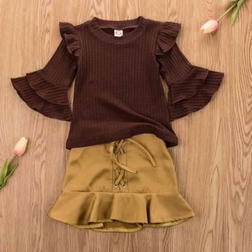 Newborn Kids Baby Girls Long Sleeve Flower Tulle Tutu Skirts Dresses Clothes Set