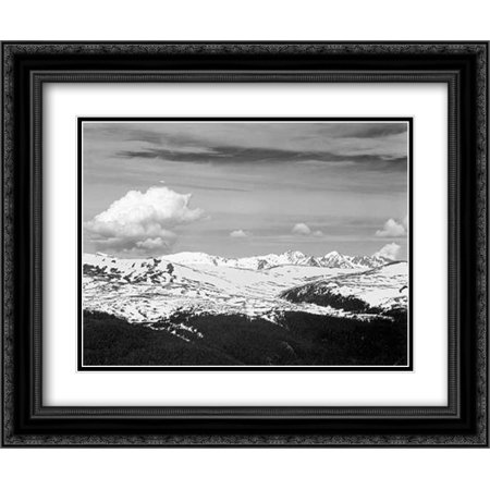 View at timberline, dark foreground, light snow capped mountain, gray sky, in Rocky Mountain Nationa 2x Matted 24x20 Black Ornate Framed Art Print by Adams, - Rocky Mountain Lighting