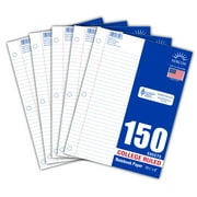 """Norcom 5-Pack Filler Paper, 150 Sheets, College Ruled, 10.5"""" x 8"""""""