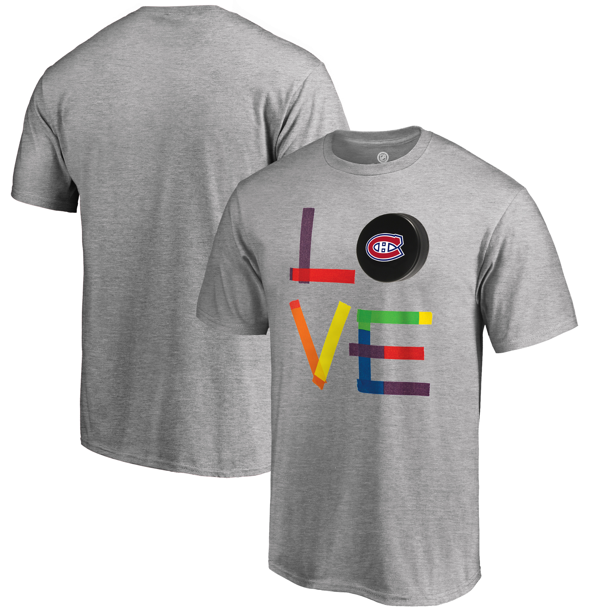 Montreal Canadiens Fanatics Branded Hockey Is For Everyone Love Square Big & Tall T-Shirt - Heather Gray
