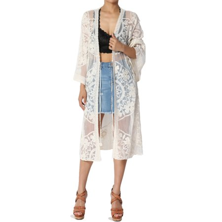 Mesh Kimono - TheMogan Women's Embroidered Sheer Mesh Lace Duster Cardigan See Through Cover Up