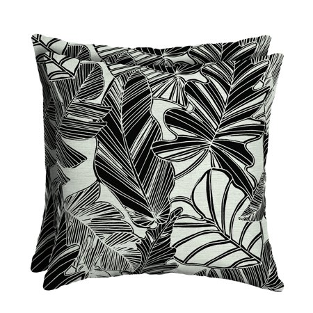 Mainstays Black and White Tropical 16 x 16 in. Outdoor Patio Toss Pillow, Set of 2](Outdoor Pillow Set)