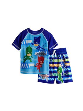 PJ Masks Toddler Boy Rash Guard Top & Swim Trunk Set - Sizes 2T-4T - Blue